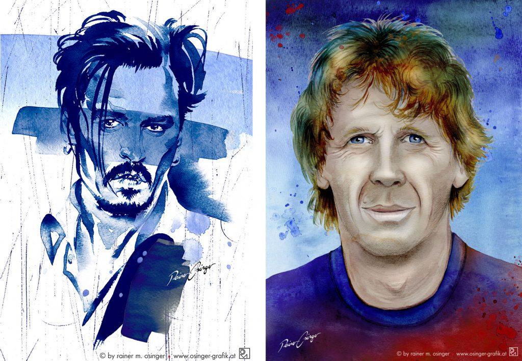 Portraits, Bilder, Aquarelle, Gemälde, Portraitgemälde aus St. Veit an der Glan, vom Künstler und Grafiker Rainer M. Osinger